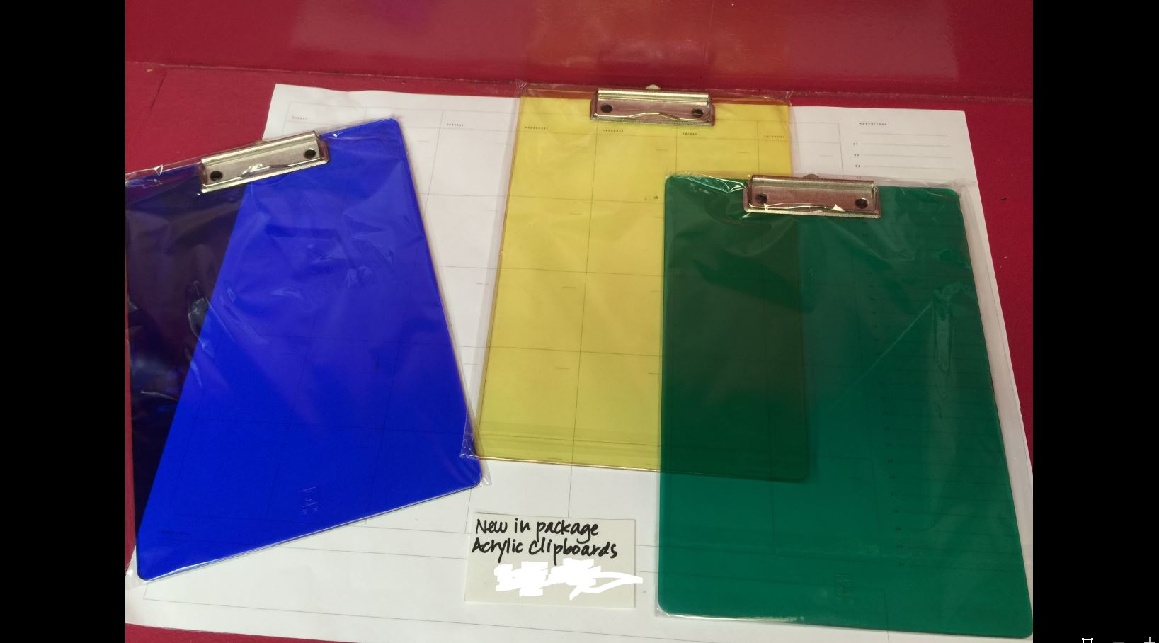 Lucite Clipboards - set of 3